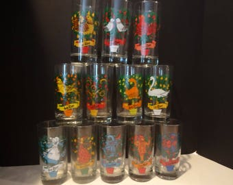 Vintage Christmas Glassware - 12 Days of Christmas - Indiana Glass - Complete Set in Box - High Ball Glasses - 1960's Holiday Barware