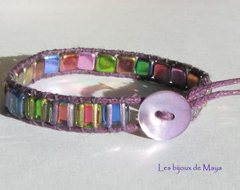 Wrap bracelet, Tile beads magic purple mother of Pearl button beads