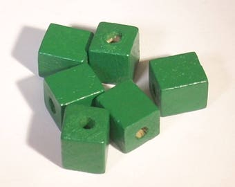 Green cube beads 13X10mm wooden sold by 7