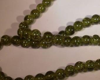 10 pearls 8mm khaki green cracked glass