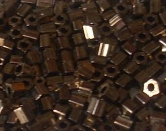 5 g of seed beads Miyuki Hex Cut Met 8/0 dark bronze