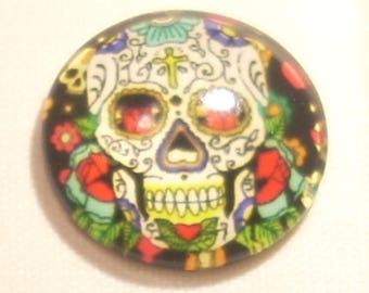 Illustrated graphic skull 20mm glass cabochon
