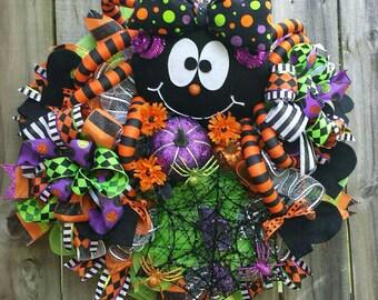Halloween wreath, Halloween spider wreath, spider wreath, Halloween wreaths, Halloween spiders, Halloween pumpkin wreath, Halloween decor