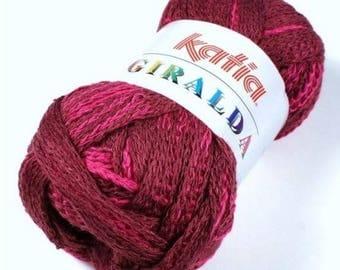 Giralda yarn for ruffled scarf - Fuchsia and Burgundy neck 57