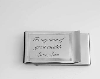 Engraved Money Clip, Personalized Money Clip, Money Clip, Double Sided  Silver Money Clip & Credit Card Holder, Custom Engraved Free