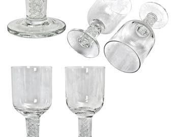 Vintage Air Twist Stems Sherry Glasses.