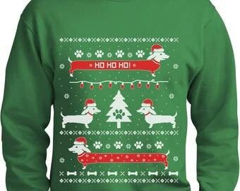 Funny Dachshund Snow Ho Ho Ho Ugly Christmas Sweater Sweatshirt
