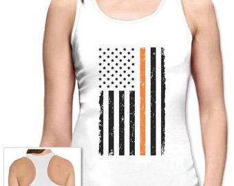 Prevent Gun Violence Orange American Flag Racerback Tank Top