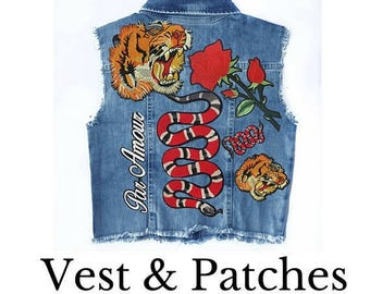 Denim Vest Jacket with Embroidered Patches Appliques, DIY KIT decorate your Jacket, DIY Fashion Jacket