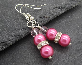 Pink Pearl Drop Earrings,  Pink Crystal Bridesmaid Jewellery, Bridesmaid Gifts, Pink Wedding, Crystal Bridesmaid Jewellery