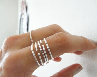Sterling Silver Rings//Open Adjustable Stacking Rings//Thumb Ring//Index Rings//Women Rings//Handmade Jewelry