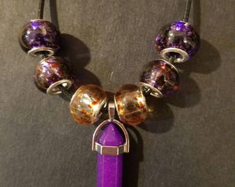 Purple Crystal Dagger Pendant, Glass Beads, FREE SHIPPING, 18 in., Adjustable Length