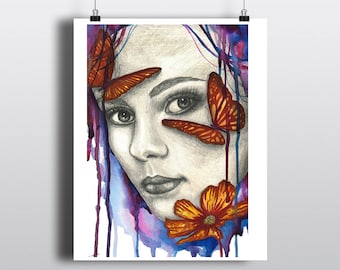 Abstract Woman Butterflies and Flowers Art Print, Mixed Media Watercolor Painting, Beautiful Woman and Butterfly Art, Colorful Wall Art