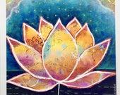 "Lotus dream, 18"" x 18"" giclee print/modern wall art/lotus flower/blue pink orange/Buddha/zen/meditation/lotus/yoga/water garden/fine art"