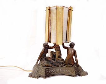 Art Deco Three Nudes Table Lamp - 1920s Nude Flapper Lighting - Copper Wash - Slag Glass Panels - Boudoir Light - Rare