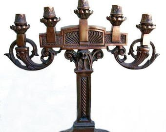 Pair Art Deco Bronze Candelabra, Candle Holders,  Deco Lighting, Art Nouveau Lighting Two Candlesticks