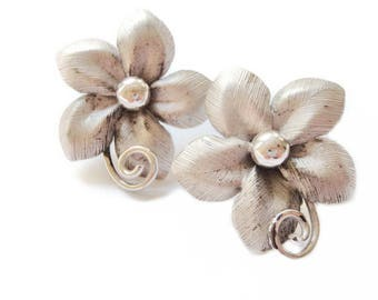 1950s Bond Boyd Earrings Sterling Silver Flower Earring Modernist Mid Century Vintage Jewellery