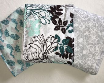 Turquoise Teal Silver and Brown Unique Modern Floral Baby Burp Cloths Set Handmade Upcycled Cloth Diapers