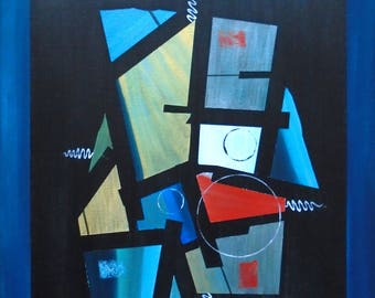 Mid-Century Modern Abstracts in Blue