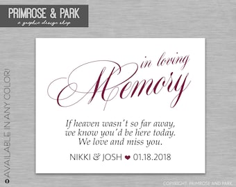 In loving Memory Sign // Wedding Memory Table Sign // Printable Digital File // If heaven wasn't so far away sign