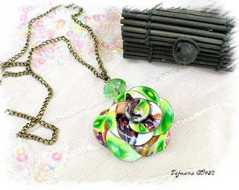 green neon flower handmade fimo on laitonTajuana CO452 chain necklace
