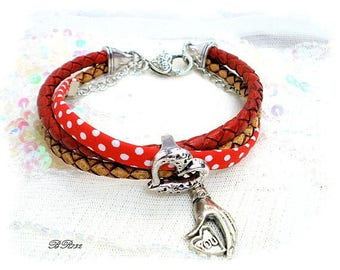 Braided leather strap and Red polka-dot heart liberty * romantic * BR732