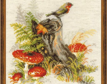 Stump with Fly Agaric - Cross Stitch Kit from RIOLIS Ref. no.:1545