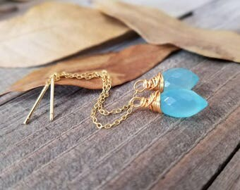 Aqua chalcedony earrings - gold ear threads - chalcedony threader earrings - gold chalcedony earring - chalcedony jewelry - blue chalcedony