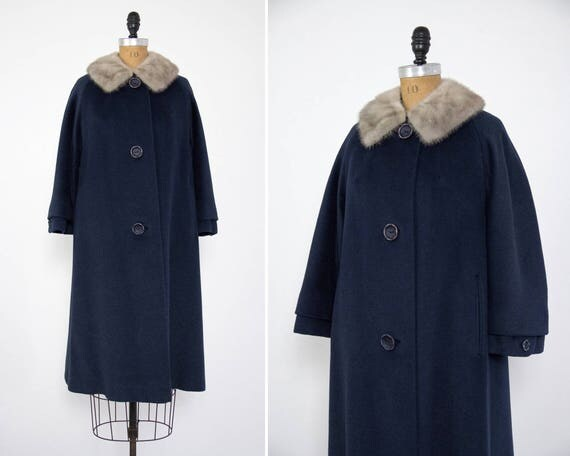 vintage 1950s blue coat fur trim | 1950s winter coat | 50s wool coat | 1950s swing coat | mink collar
