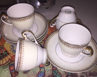 "TK Thun Bohemia ""Athena"" Czechoslovakia Set of 4 Teacups and Saucers"