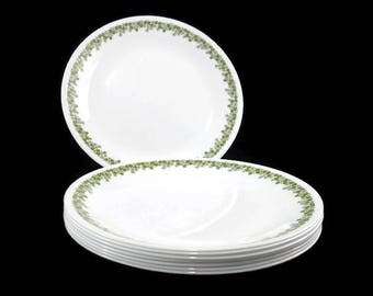 Vintage Corelle Salad Plates * Set of 8 *  Spring Blossom Green Luncheon Plates * Crazy Daisy * Pyrex Compatible