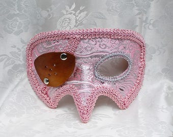 Pink Pirate Masquerade Mask, Pink Silver Metallic Brocade and Leather Pirate Masquerade Mask with Eye Patch