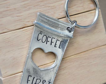 Coffee First~Coffee Cup with Heart~Pewter Keychain