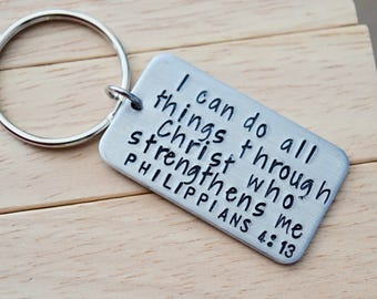 I Can Do All Things ~ Philippians 4:13~ Key Chain with Cross Charm~Light Weight Aluminum