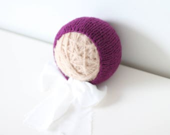 Newborn girl hat - Photo prop hat - Sitter props - Baby girl hat - Photo props - Girl hat - Photography prop - 3-6 months props - Plum