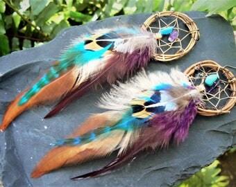 dreamcatcher earrings,feather earrings,mothers day,coachella, boho earrings,festival,turquoise, amethyst, tribal fusion, boho, belly dancer