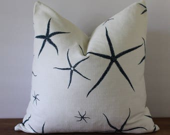 NEW- Decorator Pillow Cover- Navy and White - Starfish - Nautical
