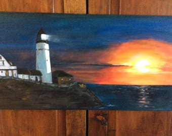 12 x 24 Lighthouse Painting