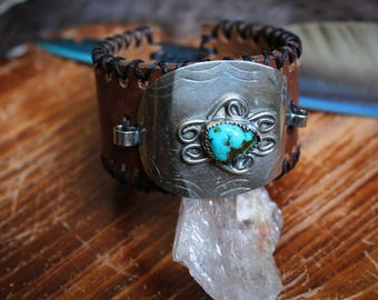 Deep Wells Leather Sterling Silver Turquoise Southwest Cuff Bracelet