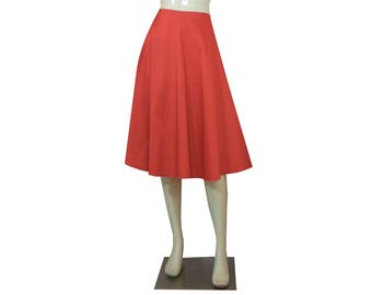 Coral Taffeta Skirt Plus Size Bridesmaid Wedding Skirt Tea Length Prom Midi Skirt 0X 1X 2X 3X 4X
