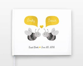 Honey Bee Wedding Guestbook, Landscape Wedding Guest Book, Horizontal Hardcover Personalized Journal, Couple Notebook, Animal Wedding Gift