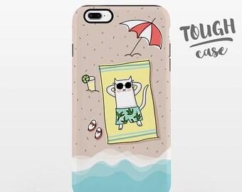 Cat Beach Phone Case iPhone 8 Plus Case iPhone X Case iPhone 7 Case iPhone 8 Case iPhone 6 Plus Case 6s 5s 5c 5 4 Summer Cool Fun TOUGH