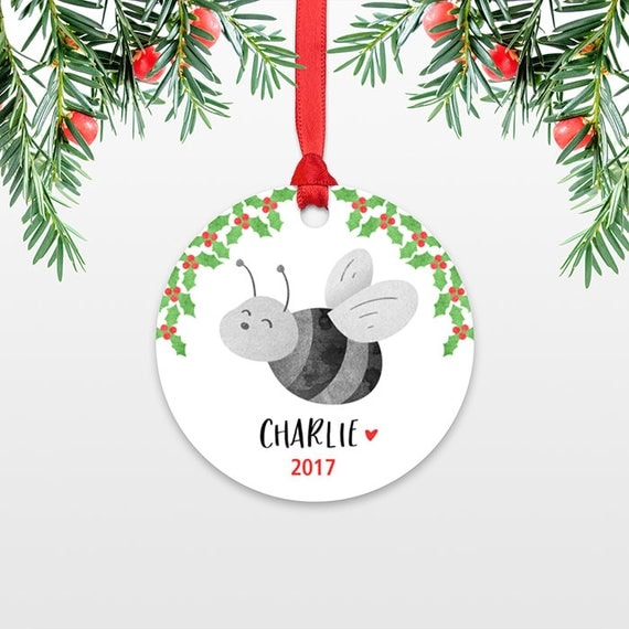 Bee Kids Personalized Christmas Ornament Childs Name Christmas Ornament Cute Stocking Stuffer for Kids Ornament Stocking Stuffer for Teens