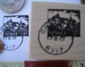Norge  NORWAY postal stamp & cancel  Wood mounted or unmounted rubber stamp 1  x 1 1/4 inches