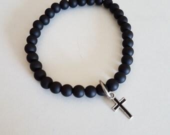 Mens cross Bracelet -Black onyx  Beaded Bracelet with cross  - Matt Onyx