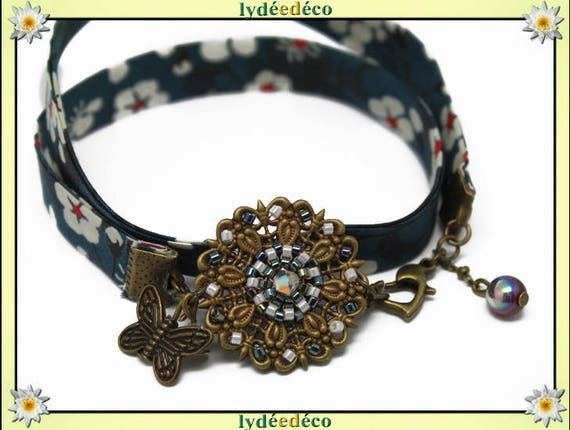 Retro country print green white blue red liberty flowers beads Japanese Glass Butterfly brass bronze