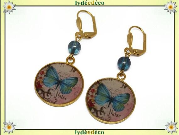 Earrings BUTTERFLIES Golden brass gold 24 carat 24 k pastel blue resin rose beads glass resin