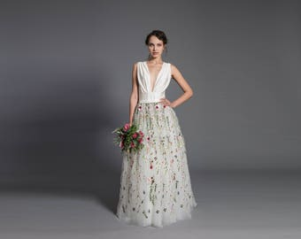 Floral wedding dress etsy floral wedding dress off white maxi tutu tulle skirt lace maxi skirt floral junglespirit Choice Image