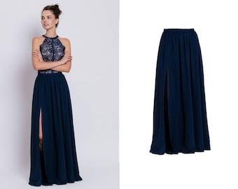 maxi chiffon skirt - maxi skirt with a slit - floor length skirt - floorlength skirt - delicate maxi skirt - elegant skirt - gown separates