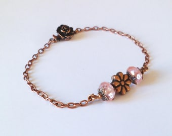 Pink Tourmaline romantic flower bracelet